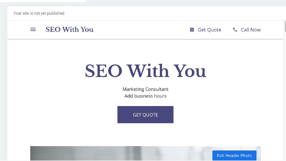 Google My Business Website Screen