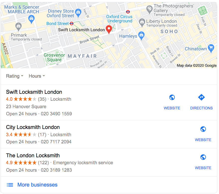 Google Maps Results Local Search Map Pack