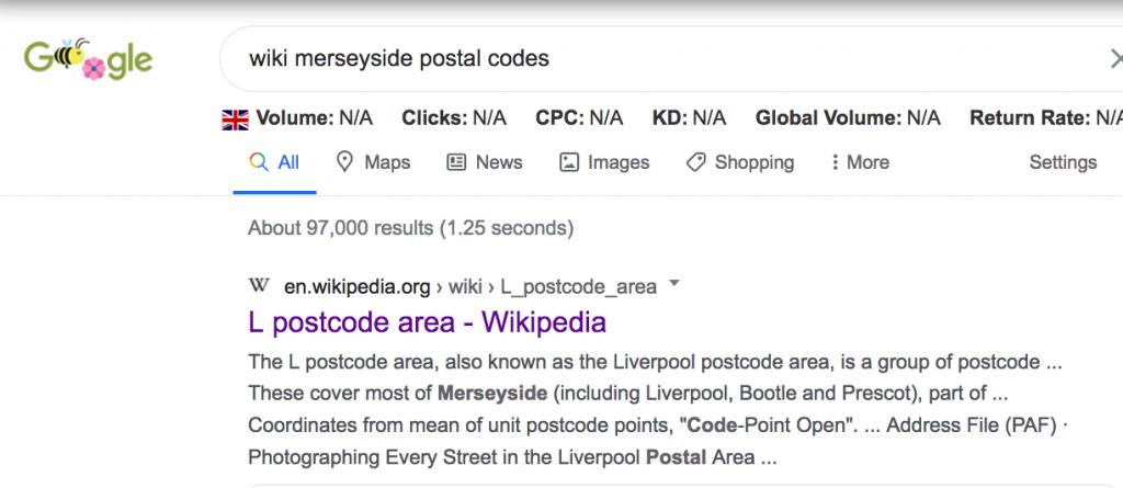 Wikipedia search for local seo