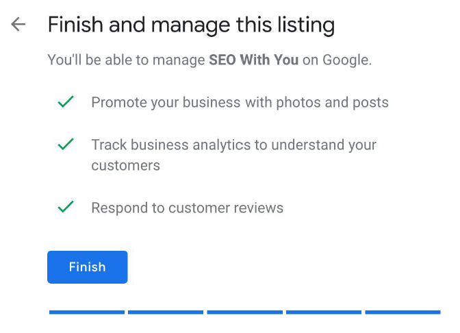 finish and manage google my business screen