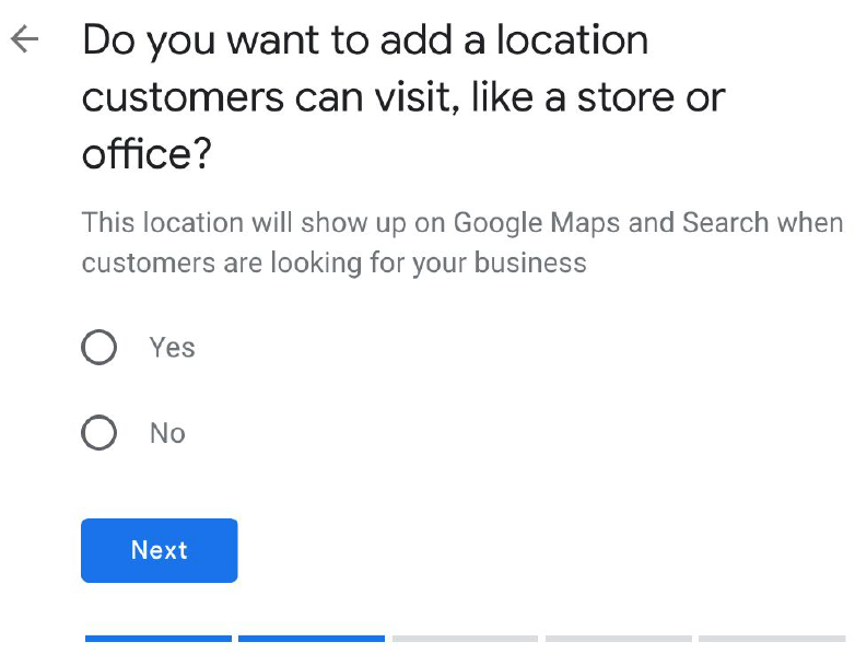 Location customers can visit options - google my business